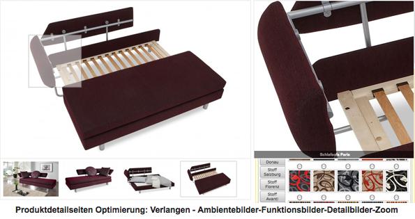 Produktdetailseite Möbel
